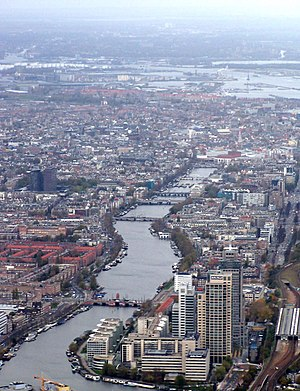 Amstel - The river Amstel flowing through the centre of Amsterdam.