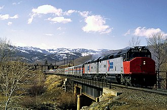 EMD SDP40F - Image: Amtrak 621 with the San Francisco Zephyr over the Truckee River in Verdi, Nevada, February 1975