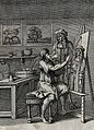 An artist is painting the portrait of a cloven-footed noblem Wellcome V0022986.jpg