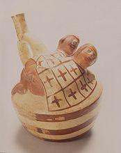 A vase-portrait Mochica representing a scene of anal sexUna escena de sexo anal