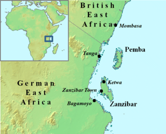 Sultanate of Zanzibar - Island of Unguja and the African mainland