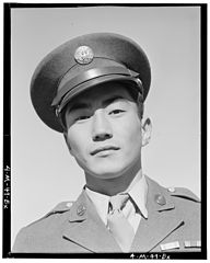 Ansel Adams Manzanar - Corporal Jimmie Shohara has two ribbons- Good Beha - LOC ppprs-00074.jpg