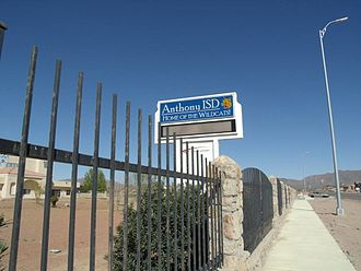 Anthony, Texas - Anthony ISD marquee