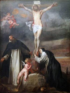 Christ on the Cross with Saint Catherine of Siena, Saint Dominic and an Angel