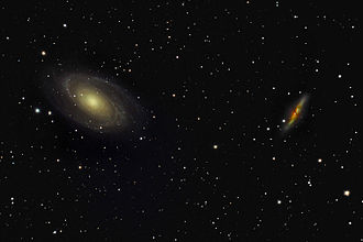 Messier 81 - M81 (left) and M82 (right).  M82 is one of two galaxies strongly influenced gravitationally by M81.  The other, NGC 3077, is located off the top edge of this image.