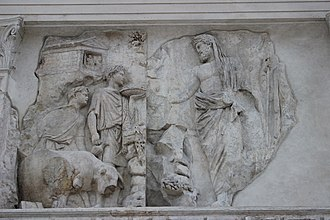 Ara Pacis - Relief showing a sacrifice performed by Aeneas or Numa Pompilius.