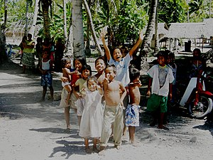 Aranuka - Residents of Aranuka Island, Kiribati welcome visitors
