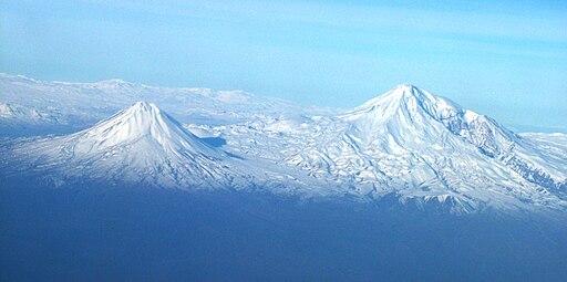 Ararat view from plane under Naxicivan Sharur