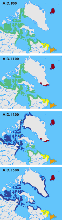 Maps showing the different cultures (Dorset, Thule, Norse, Innu, and Beothuk) in Greenland, Labrador, Newfoundland and the Canadian arctic islands in the years 900, 1100, 1300 and 1500