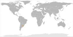 Map indicating locations of Armenia and Uruguay