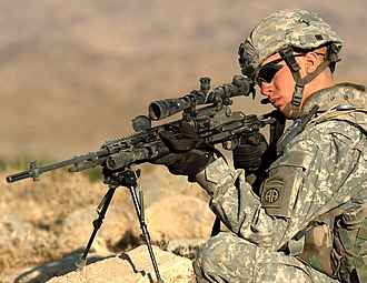 325th Infantry Regiment (United States) - A Designated Marksman provides security