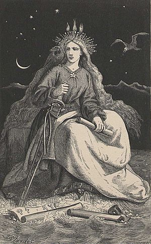 "Johann Baptist Zwecker - ""The lady of the mountain"" (Fjallkonan), a symbol of Iceland, frontispiece to Jón Árnason's Icelandic Legends, 1866"