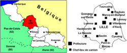 Location of Lille in Nord-Pas-de-Calais