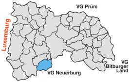 Location of Jucken in the Verbandsgemeinde Arzfeld