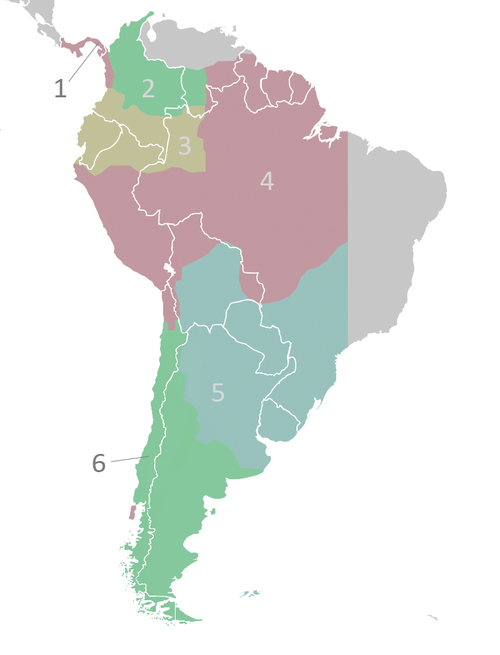 The audiencia subdivisions of the Viceroyalty of Peru ca.1650, as numbered in the article. Audencias of Viceroyalty of Peru.PNG