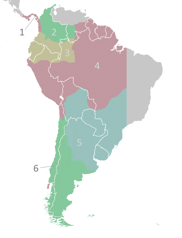"The Audiencia of Charcas in Upper Peru had power over the blue area of the Viceroyalty of Peru, marked ""5,"" including Paraguay. Audencias of Viceroyalty of Peru.PNG"