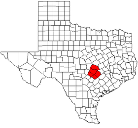 Map showing the area of the Austin-Round Rock MSA