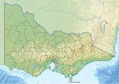 """Mapa konturowa Wiktorii, blisko centrum na prawo znajduje się czarny trójkącik z opisem """"Mount Hotham"""""""