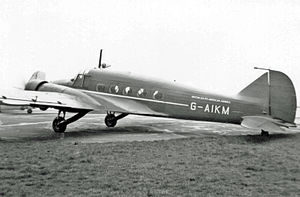 British South American Airways - BSAAC's Avro Anson executive transport Star Visitant, wearing full titles, at Manchester Airport in March 1949