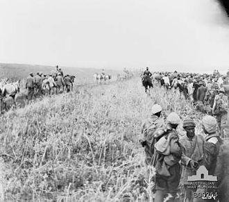 Capture of Jenin - Prisoners walking from Jenin to Lejjun escorted by 8th Light Horse Regiment