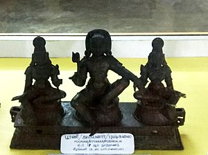 Sabarimala - Aiyyanar with Poorna and Pushkala. From Historical Museum of Rajendra Chola, Gangaikondacholapuram, Peramablloor District, Tamil Nadu, India.