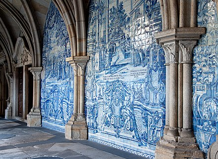 Azulejos and Gothic elements at the Cathedral Azuelo tile mural at Porto Cathedral.jpg