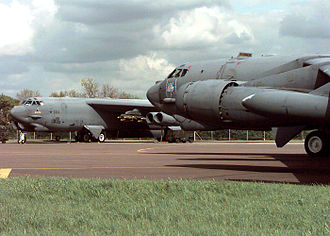 RAF Fairford - A Boeing B-52H Stratofortress taxis along the flight line at RAF Fairford
