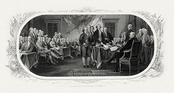 Engraving based on Trumbull's Declaration of Independence