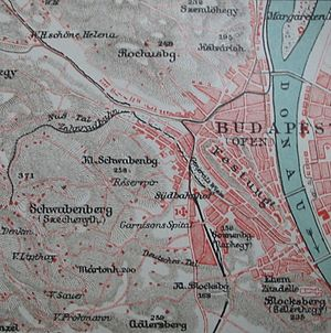 "Budapest Cog-wheel Railway - The Cog-wheel on the map of 1905 ""Zahnradbahn"""