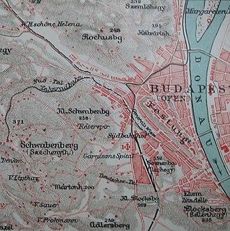 "Budapest Cog-wheel Railway - The Cog-wheel on the map of 1905 ""Zahnradbahn"""