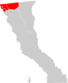 Baja California locator map (Rosarito Beach, Tecate, Tijuana municipalities highlighted).png