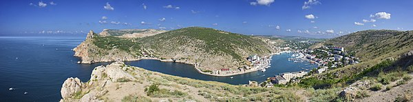 Panoramic view of Balaklava Bay, Crimea, Ukraine. In Soviet time this was submarine bay. Today museum and touristic city. Panorama made of 6 photos.