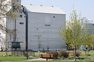 Baldur, Manitoba - The grain elevator and park in Baldur.