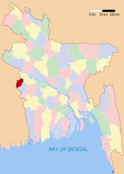 Location of Meherpur in Bangladesh
