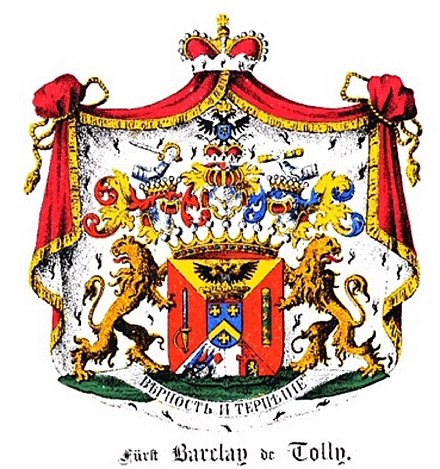 Coat of arms of the princely Barclay de Tolly family of 1815, in the Baltic Coat of arms book by Carl Arvid von Klingspor [de] in 1882[1]