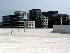 Barcode Project - As seen from the roof of the Oslo Opera House. The outline of the district is reminiscent of the barcode.