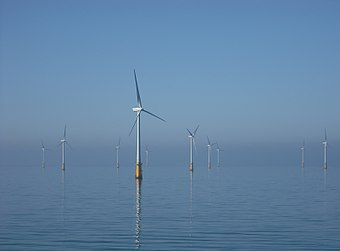 Offshore wind turbines at Barrow, off Walney Island in the Irish Sea