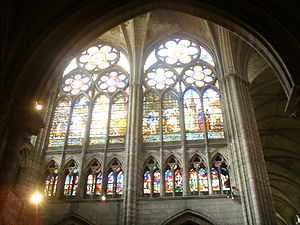 Rayonnant - Bar tracery and glazed triforium in the nave of St Denis (the windows themselves are 19th-century replacements)