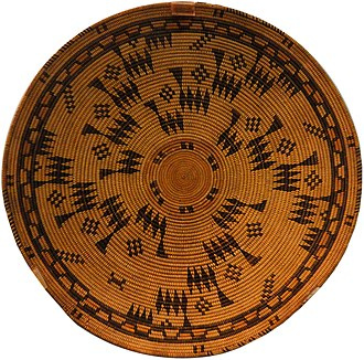 Chumash people - Basketry tray, Santa Barbara Mission, early 1800s