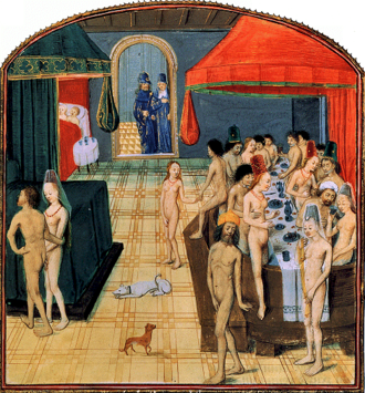 Brothel scene in a public bath, ca. 1475 Bathhouse-Valerius Maximus.png