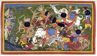 The Battle at Lanka, Ramyana by Sahibdin. It depicts the monkey army of the protagonist Rama (top left, blue figure) fighting Ravana--the demon-king of the Lanka--to save Ram's kidnapped wife, Sita. The painting depicts multiple events in the battle against the three-headed demon general Trishira, in bottom left. Trishira is beheaded by Hanuman, the monkey-companion of Rama. Battle at Lanka, Ramayana, Udaipur, 1649-53.jpg