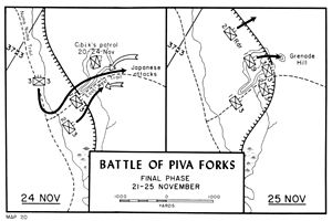 Battle of Piva Forks final phase map 21-25 Nov 43