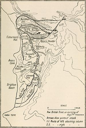 Battle of Sari Bair - Map of the British attack, 6–8 August