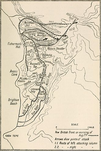 Andrew Hamilton Russell - Map of the attack on the Sari Bair Ridge, 6–8 August