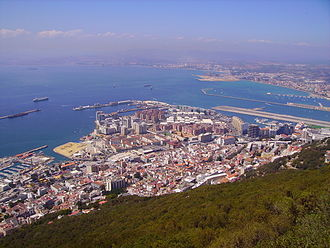 North Mole, Gibraltar Harbour - View of the North Mole and its Western Arm at Gibraltar Harbour, from the Rock of Gibraltar, with Detached Mole at far left