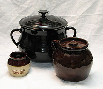 "Baked beans - Three beanpots used for cooking homemade baked beans. The small one is glazed with the letters ""Boston Baked Beans"""
