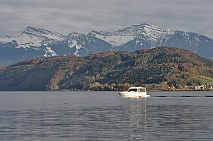 Buechberg - Buechberg on Obersee (Zürichsee), as seen from the Jona river in Jona, Speer, Chüemettler and Federispitz mountains in the background