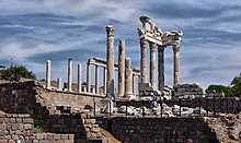 Photograph of stone columns and walls—the ruins of Pergamon in Turkey
