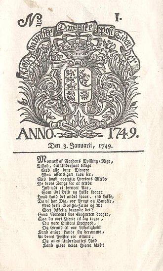 Ernst Henrich Berling - Image: Berlingske tidende 1749 side 1