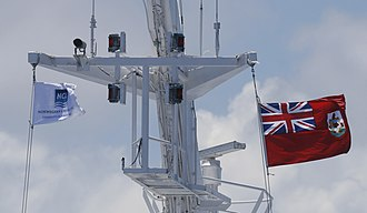 Flag of Bermuda - Flag of Bermuda flown on a ship.